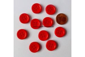 Gombík plastový - štvordierkový, farebný - Ø15 mm